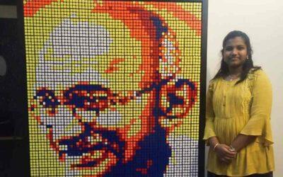 ഗാന്ധിജയന്തി ദിനത്തിൽ ജാഹ്നവിയുടെ സമർപ്പണം:റുബിക്സ് ക്യൂബുകൾക്കൊണ്ട് ഗാന്ധിജി